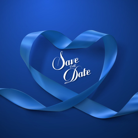 Save the Date. Blue Ribbon Heart. Vector Illustration Of Looping Ribbon.