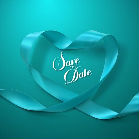 Save the Date. Turchese Cuore del nastro. Illustrazione vettoriale di Looping del nastro.