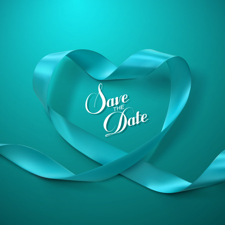 greeting card: Save the Date. Turquoise Ribbon Heart. Vector Illustration Of Looping Ribbon. Illustration