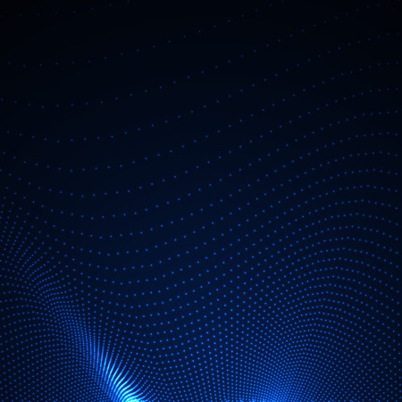 3D illuminated abstract digital wave of glowing particles. Futuristic vector illustration. HUD element. Technology concept. Abstract background Vettoriali