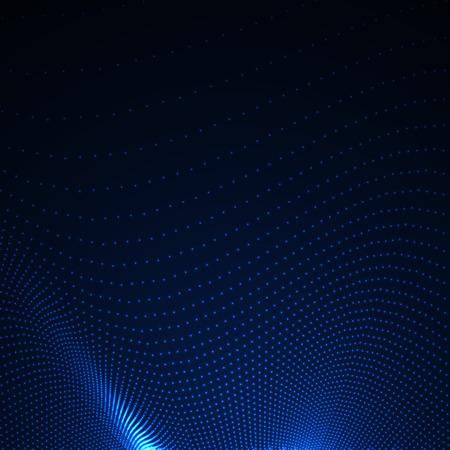 3D verlichte abstracte digitale golf van gloeiende deeltjes. Futuristische vectorillustratie. HUD-element. Technologie concept. Abstracte achtergrond