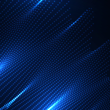 3D illuminated abstract digital wave of glowing particles. Futuristic vector illustration. HUD element. Technology concept. Abstract background Illustration