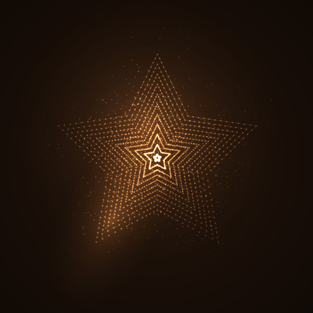pentacle: 3D illuminated star shape of glowing particles. Futuristic vector illustration. HUD element. Technology concept
