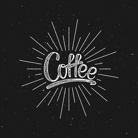light rays: Coffee. Vector Illustration. Lettering Label With Light Rays Illustration