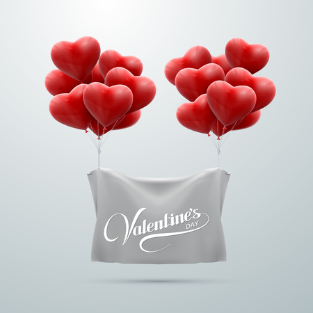 bunch: happy valentines day. white textile banner with heart balloons. vector holiday illustration