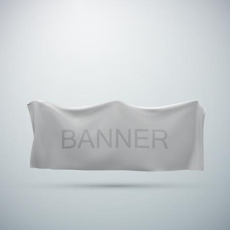wrinkle: white textile banner mock-up. vector illustration