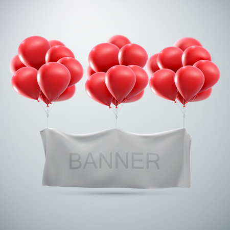 congratulations text: white textile banner with balloons. vector mock-up
