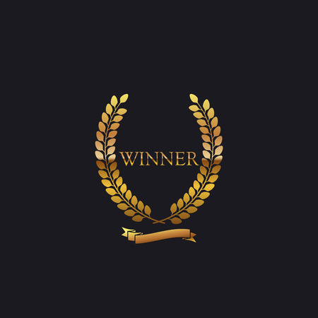 nomination: Golden Winner Award Sign. Award Laurel Wreath With Ribbon. Vector illustration Illustration