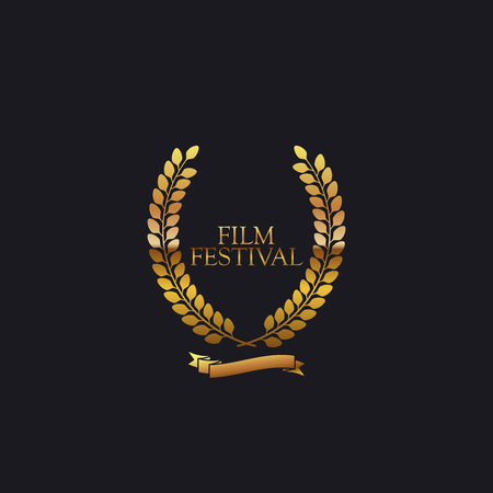 film: Film Festival Award Sign. Golden Award Wreath With Ribbon. Vector illustration