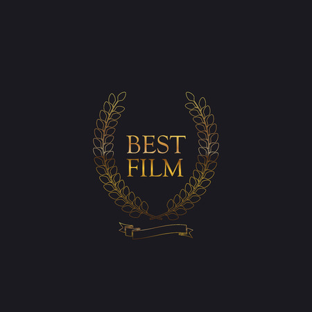 red carpet event: Best Film Award Sign. Golden Award Wreath With Ribbon. Vector illustration