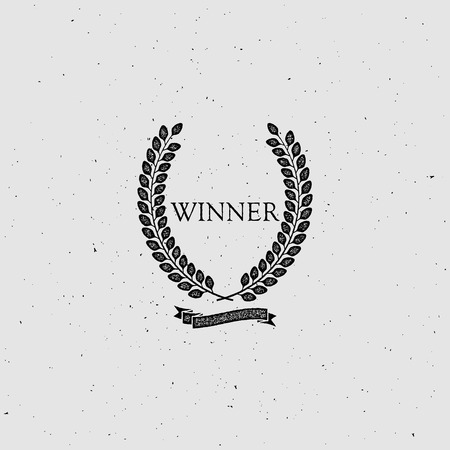 nomination: Winner Award Sign. Award Laurel Wreath With Ribbon. Vector illustration