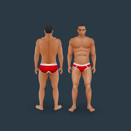 nudo maschile: vettore moda illustrazione degli uomini in slip (anteriore e posteriore vista) in stile piatto. Vettoriali