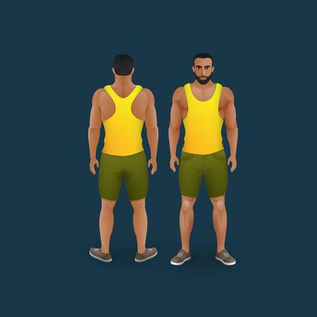 men back: vector fashion illustration of men wearing shorts and singlet (front and back view) Illustration