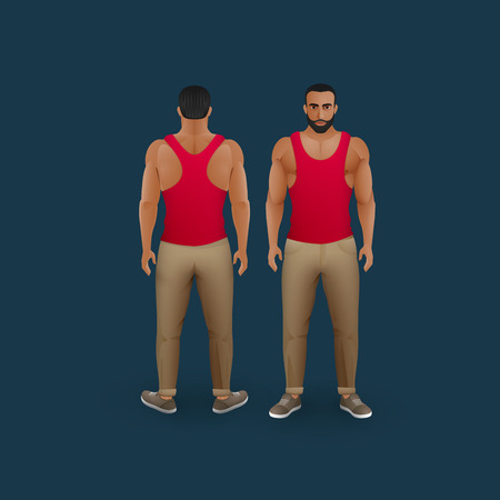male costume: vector fashion illustration of men wearing pants, sneakers and singlet (front and back view)