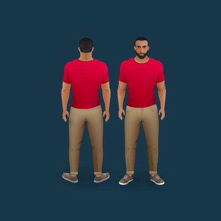 vettore moda illustrazione di uomini che indossavano pantaloni, scarpe da ginnastica e t-shirt (anteriore e posteriore vista) Vettoriali