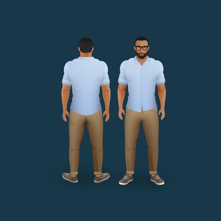 torso: vector fashion illustration of men wearing pants, trainers and shirt (front and back view) Illustration