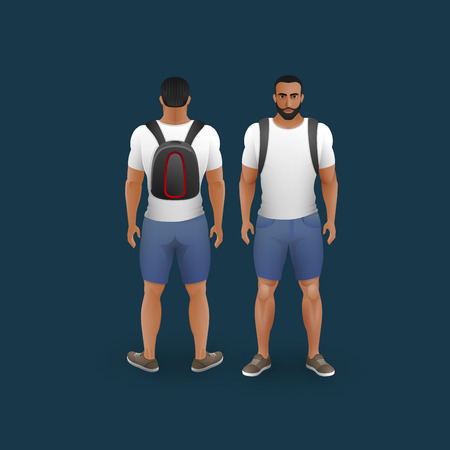 fashion clothing: vector fashion illustration of men wearing shorts, trainers and t-shirt (front and back view) Illustration