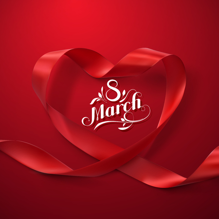 8 march: 8 March. International Womens Day. Red Ribbon Heart. Vector Illustration Of Looping Ribbon And Holiday Lettering.