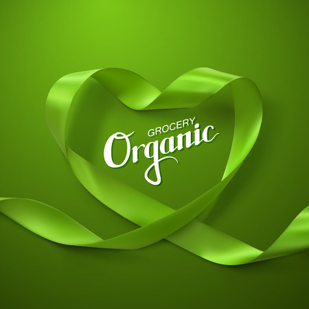 looping: Organic Grocery Sign. Green Ribbon Heart. Vector Illustration Of Looping Ribbon With Lettering Label. Healthy Food Concept