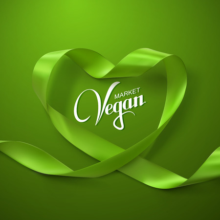 looping: Vegan Market Sign. Green Ribbon Heart. Vector Illustration Of Looping Ribbon With Lettering Label. Healthy Food Concept Illustration