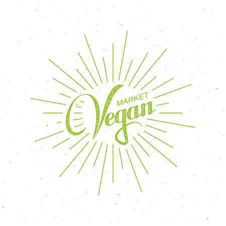 light rays: Vegan Market Sign. Vector Illustration Of Lettering Label With Light Rays. Healthy Food Concept