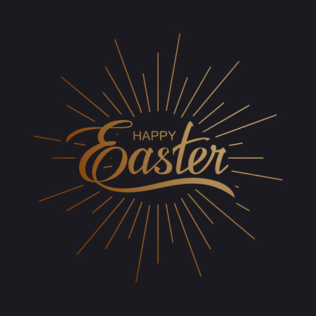 Happy Easter. Vector Illustration Of Holiday Religious Easter Lettering With Burst