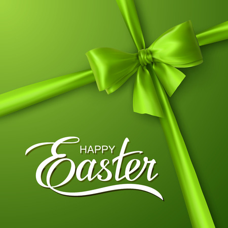 Happy Easter. Vector Illustration Of Holiday Religious Easter Lettering, Green Bow And Ribbon