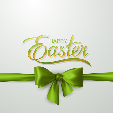 green ribbon: Happy Easter. Vector Illustration Of Holiday Religious Easter Lettering, Green Bow And Ribbon