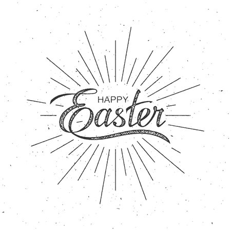 titles: Happy Easter. Vector Illustration Of Holiday Religious Easter Lettering With Burst