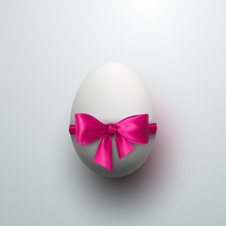 the christian religion: Easter Egg With Pink Bow. Vector Easter Illustration. Holiday Religion Christian Easter Symbol
