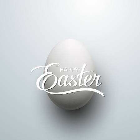 the christian religion: Easter Egg With Holiday Lettering. Vector Easter Illustration. Holiday Religion Christian Easter Symbol
