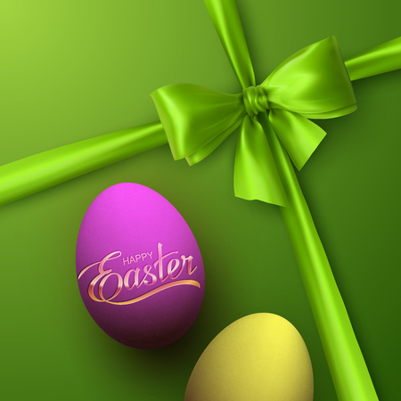 the christian religion: Easter Eggs With Holiday Golden Lettering. Vector Easter Illustration With Green Bow, Ribbon And Easter Eggs. Holiday Religion Christian Easter Symbol Illustration