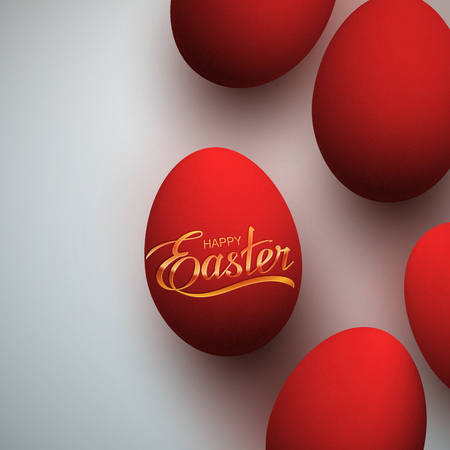 Easter Eggs With Holiday Golden Lettering. Vector Easter Illustration With Easter Eggs. Holiday Religion Christian Easter Symbol