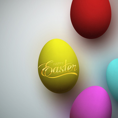 the christian religion: Easter Eggs With Holiday Golden Lettering. Vector Easter Illustration With Easter Eggs. Holiday Religion Christian Easter Symbol