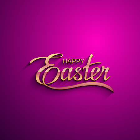 pascuas navideÑas: Happy Easter. Vector Illustration Of Holiday Religious Easter Lettering. Golden Label