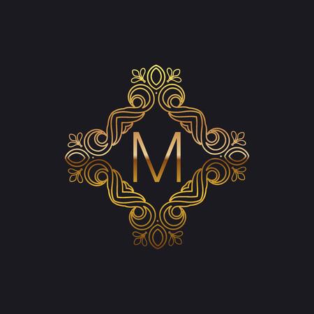 art logo: vector floral golden monogram. art-deco golden frame. golden monogram frame. art-deco line art element for design