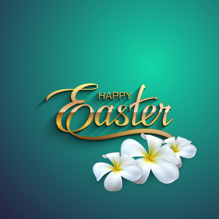 Happy Easter. Vector Illustration Of Holiday Religious Easter Lettering. Golden Label With Flowers  イラスト・ベクター素材
