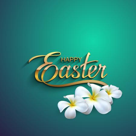 Joyeuses Pâques. Illustration Vecteur de fête religieuse Lettrage Pâques. Or Étiquette avec des fleurs