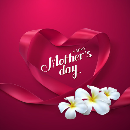 pink satin: Happy Mothers Day. Vector Festive Holiday Illustration With Lettering And Pink Ribbon Heart And Flowers Illustration