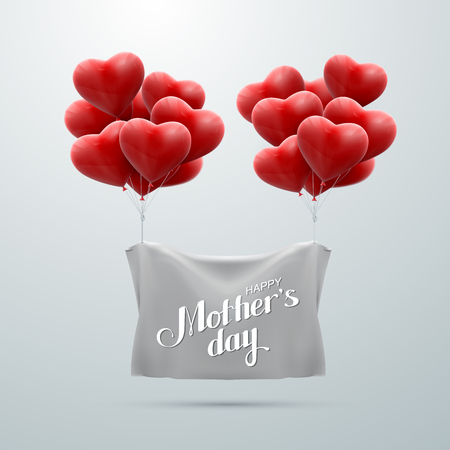 bunch of hearts: Happy Mothers Day. Vector Festive Holiday Illustration With Lettering And Bunch Of Balloon Hearts