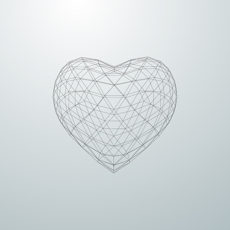 3d heart: Happy Valentines Day. 3D heart shape of particle array and wireframe. Vector illustration.
