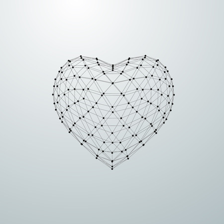 Happy Valentines Day. 3D heart shape of particle array and wireframe. Vector illustration.
