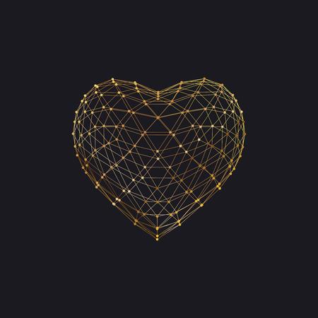 幸せなバレンタインデー。粒子配列とワイヤー フレームの 3 D ハート形。ベクトルの図。