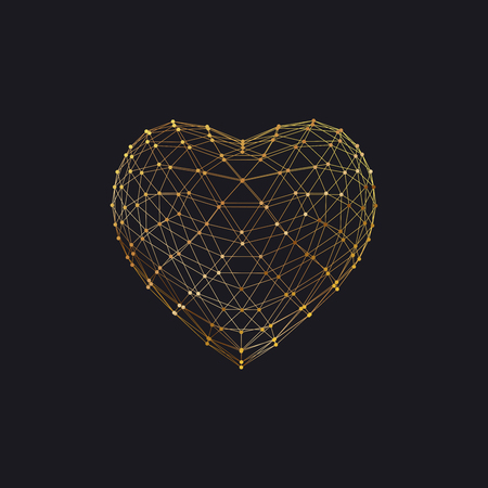 synergy: Happy Valentines Day. 3D heart shape of particle array and wireframe. Vector illustration.
