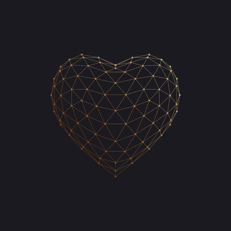 array: Happy Valentines Day. 3D heart shape of particle array and wireframe. Vector illustration.