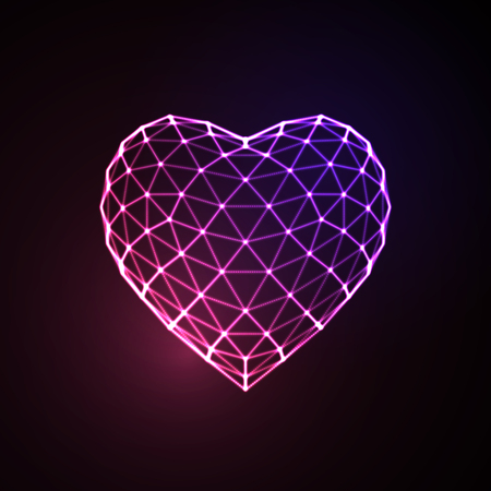 Happy Valentines Day. 3D illuminated neon heart of glowing particles and wireframe. Vector illustration. Vettoriali