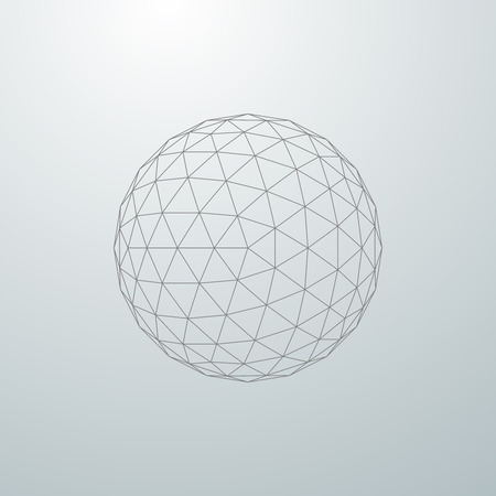 spheres: 3D sphere with global line connections. Futuristic vector illustration. HUD element. Wireframe polygonal mesh shape.