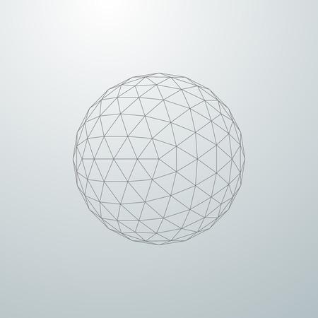 esfera: esfera 3D con conexiones de línea a nivel mundial. ilustración vectorial futurista. elemento de HUD. forma de malla poligonal estructura metálica. Vectores