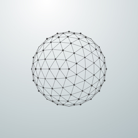 wireframe globe: 3D sphere with global line connections. Futuristic vector illustration. HUD element. Wireframe polygonal mesh shape.