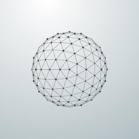 3D-Kugel mit globalen Linienverbindungen. Futuristische Vektor-Illustration. HUD-Element. Wireframe Polygonalnetz Form.